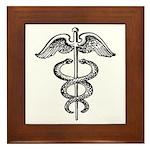 Asclepius Staff - Medical Symbol Framed Tile