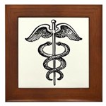 Asclepius Staff - Medical Symbol Framed Tile
