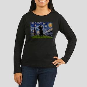 Starry / Std Poodle(bl) Women's Long Sleeve Dark T
