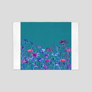 Watercolor blue purple field flower 5'x7'Area Rug
