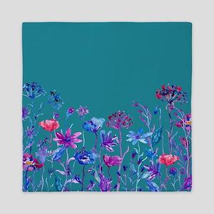 Watercolor blue purple field flowers Queen Duvet