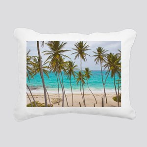 Palm Trees Beach BM Rectangular Canvas Pillow