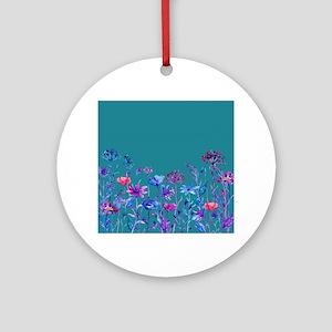 Watercolor blue purple field flower Round Ornament