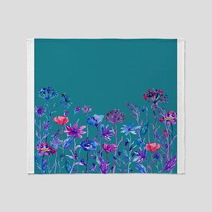 Watercolor blue purple field flowers Throw Blanket
