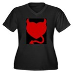 Devil Heart Women's Plus Size V-Neck Dark T-Shirt