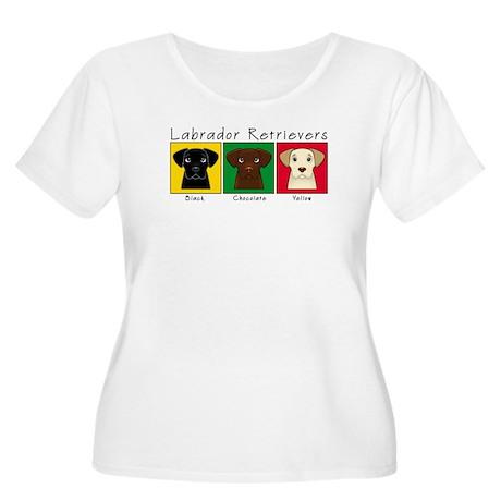 Three Labradors Women's Plus Size Scoop Neck T-Shi