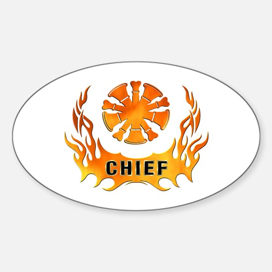 Fire Chiefs Flame Tattoo Sticker (Oval)