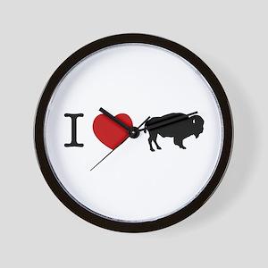 I LOVE BUFFALO Wall Clock