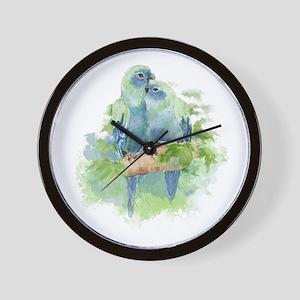 Tropical Blue Cuddling Parrot Birds Wall Clock