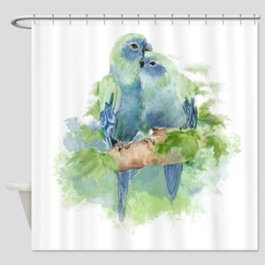 Tropical Blue Cuddling Parrot Birds Shower Curtain