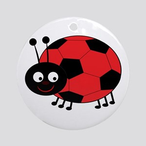 Soccer Lady Bug Round Ornament