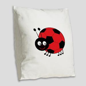 Soccer Lady Bug Burlap Throw Pillow