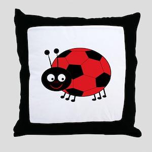 Soccer Lady Bug Throw Pillow