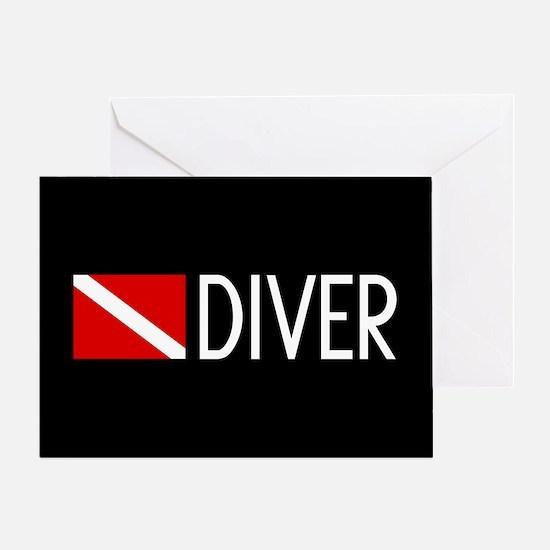 Diving: Diving Flag & Diver Greeting Card