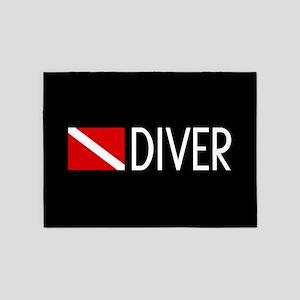 Diving: Diving Flag & Diver 5'x7'Area Rug