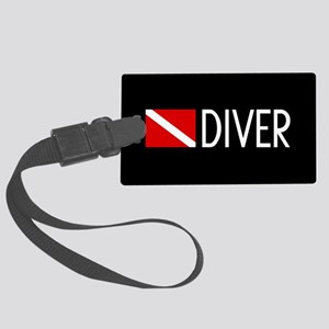 Diving: Diving Flag & Diver Large Luggage Tag