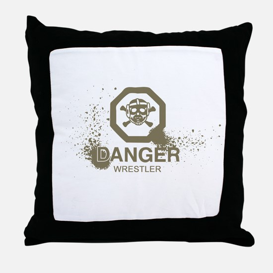 Danger Wrestler Throw Pillow