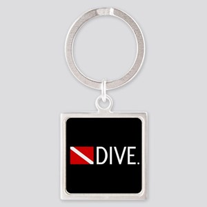 Diving: Diving Flag & Dive. Square Keychain
