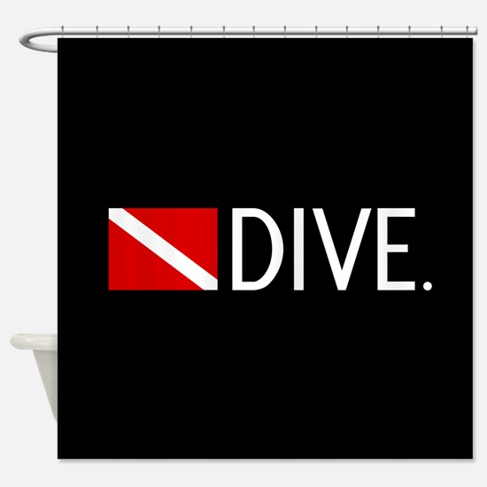 Diving: Diving Flag & Dive. Shower Curtain