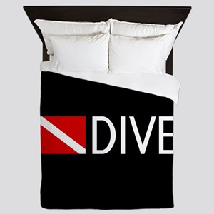 Diving: Diving Flag & Dive. Queen Duvet