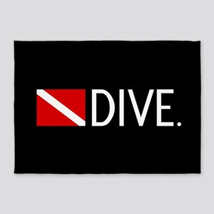 Diving: Diving Flag & Dive. 5'x7'Area Rug