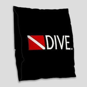 Diving: Diving Flag & Dive. Burlap Throw Pillow