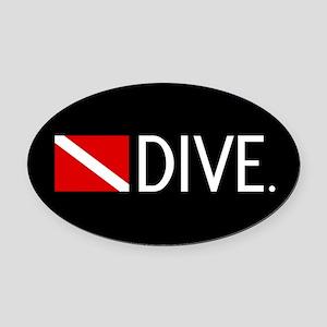 Diving: Diving Flag & Dive. Oval Car Magnet