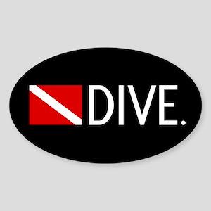 Diving: Diving Flag & Dive. Sticker (Oval)