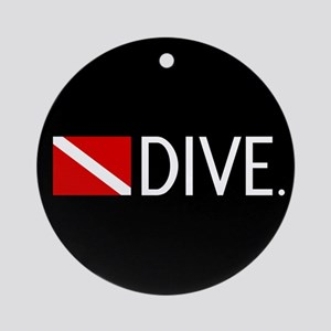 Diving: Diving Flag & Dive. Round Ornament