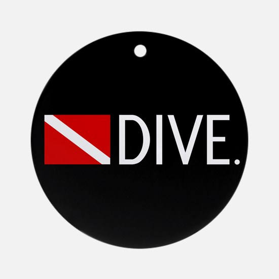 Diving: Diving Flag & Dive. Round Ornament