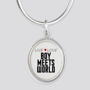 Live Love Boy Meets World Silver Oval Necklace