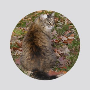 Maine Coon cat Fall leaves Ornament (Round)