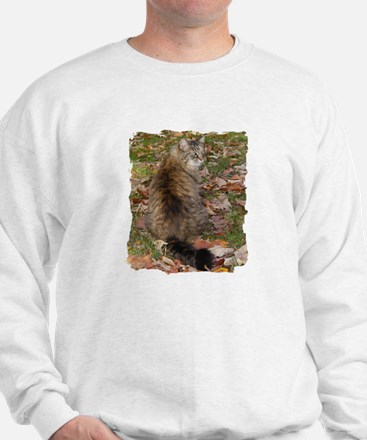 Maine Coon cat Fall leaves Sweatshirt
