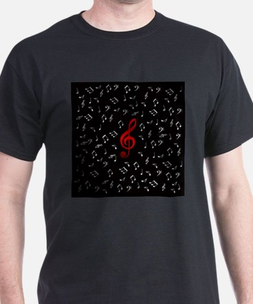 red music notes in silver T-Shirt