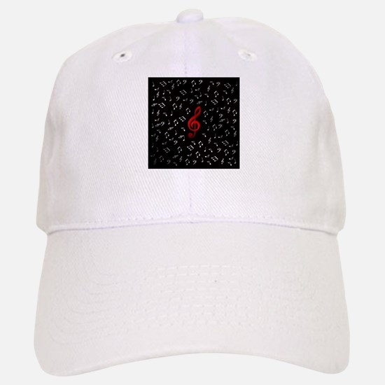 red music notes in silver Baseball Baseball Cap