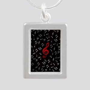red music notes in silver Necklaces
