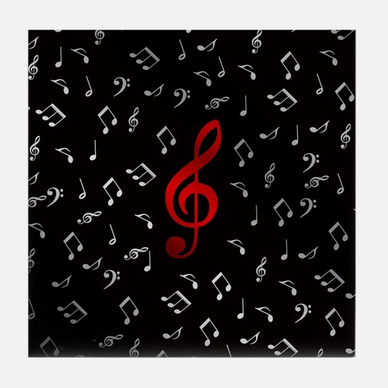 red music notes in silver Tile Coaster