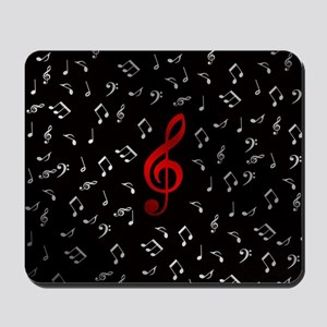red music notes in silver Mousepad