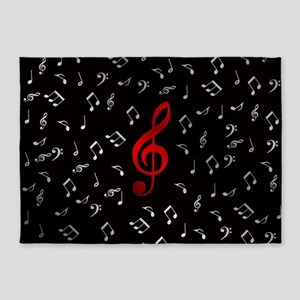 red music notes in silver 5'x7'Area Rug