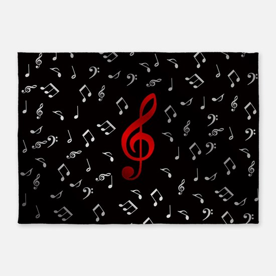 Red Music Notes In Silver 5 X7 Area Rug