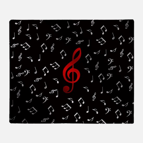 red music notes in silver Throw Blanket