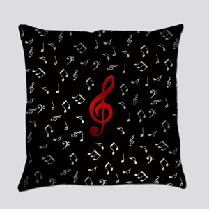 red music notes in silver Everyday Pillow
