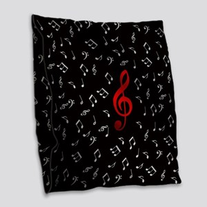 red music notes in silver Burlap Throw Pillow