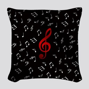 red music notes in silver Woven Throw Pillow