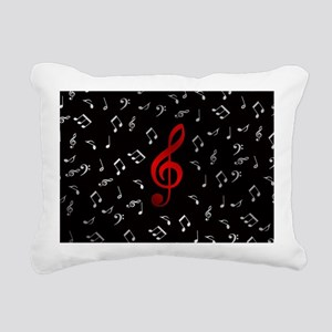 red music notes in silve Rectangular Canvas Pillow