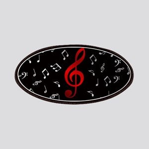 red music notes in silver Patch