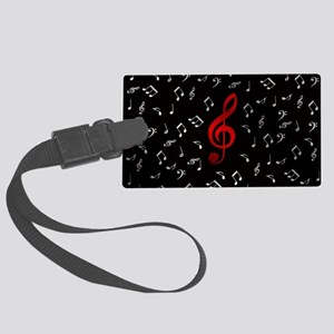 red music notes in silver Large Luggage Tag