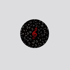 red music notes in silver Mini Button