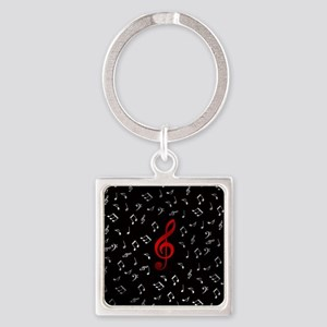red music notes in silver Keychains