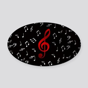 red music notes in silver Oval Car Magnet